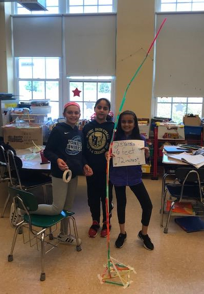 Students use straws to build freestanding towers